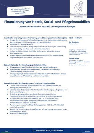 Finanzierung von Hotels Sozial und Pflegeimmobilien