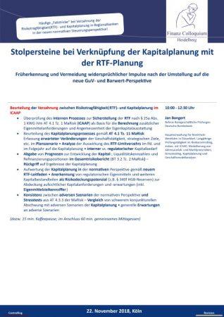 Stolpersteine bei Verknuepfung der Kapitalplanung mit der RTFPlanung