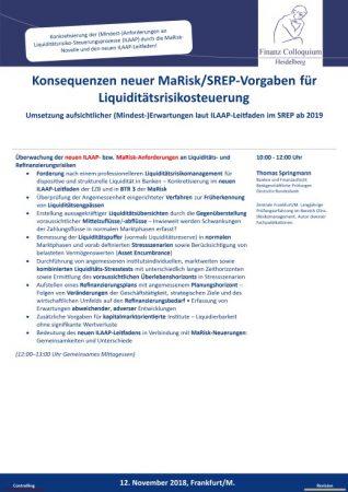 Konsequenzen neuer MaRiskSREPVorgaben fuer Liquiditaetsrisikosteuerung