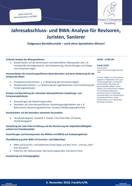 Jahresabschluss und BWAAnalyse fuer Revisoren Juristen Sanierer