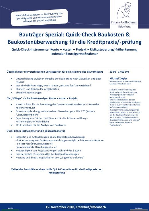 Bautraeger Spezial QuickCheck Baukosten Baukostenueberwachung fuer die Kreditpraxispruefung