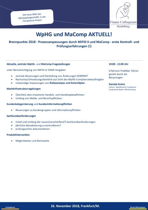WpHG und MaComp AKTUELL