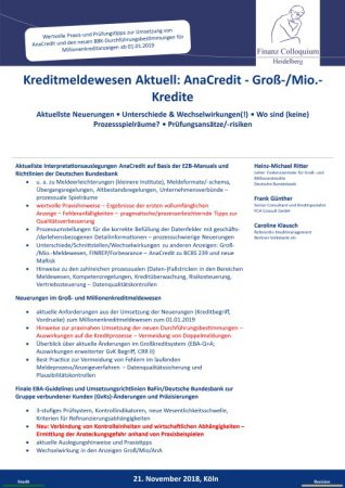 Kreditmeldewesen Aktuell AnaCredit GroMioKredite