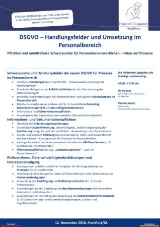 DSGVO Handlungsfelder und Umsetzung im Personalbereich