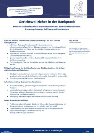 Gerichtsvollzieher in der Bankpraxis