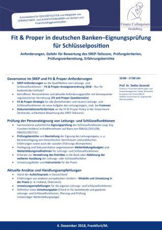 Fit Proper in deutschen BankenEignungspruefung fuer Schluesselposition