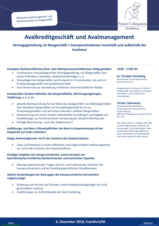 Avalkreditgeschaeft und Avalmanagement