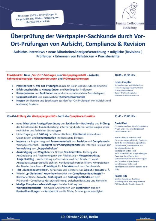 Ueberpruefung der WertpapierSachkunde durch VorOrtPruefungen von Aufsicht Compliance Revision