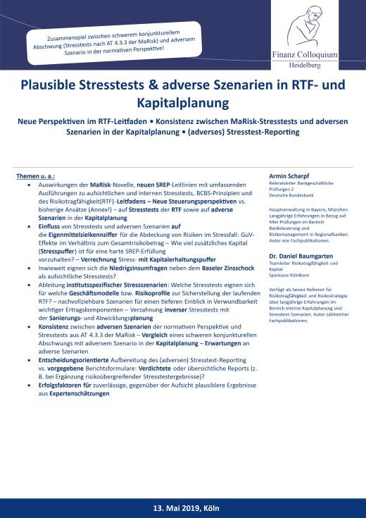 Plausible Stresstests adverse Szenarien in RTF und Kapitalplanung