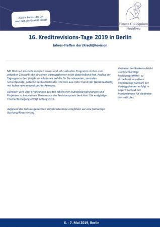 16 KreditrevisionsTage 2019 in Berlin