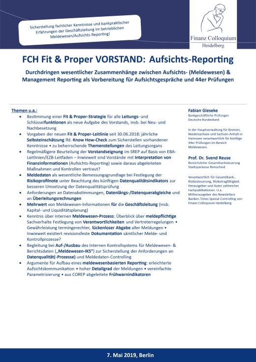 FCH Fit Proper VORSTAND AufsichtsReporting