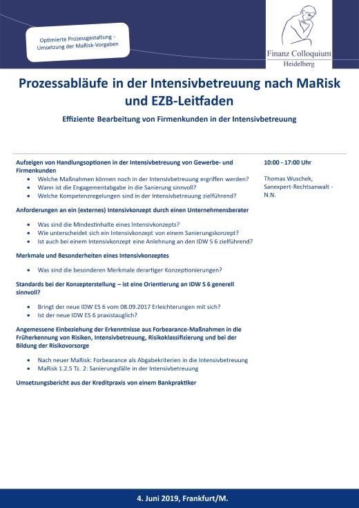 Prozessablaeufe in der Intensivbetreuung nach MaRisk und EZBLeitfaden