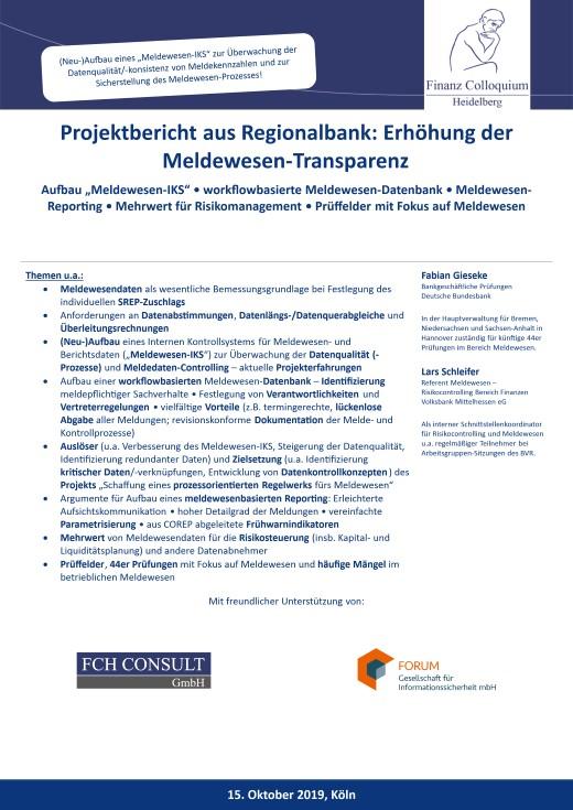 Projektbericht aus Regionalbank: Erhöhung der Meldewesen-Transparenz ...