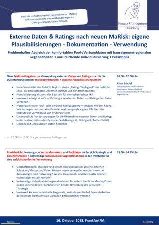 Externe Daten Ratings nach neuen MaRisk eigene Plausibilisierungen Dokumentation Verwendung