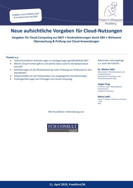 Neue aufsichtliche Vorgaben fuer CloudNutzungen