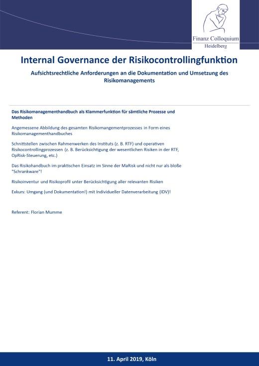 Internal Governance der Risikocontrollingfunktion