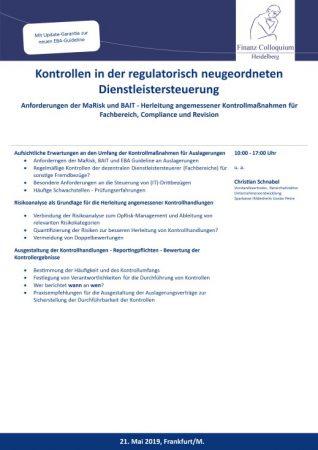 Kontrollen in der regulatorisch neugeordneten Dienstleistersteuerung