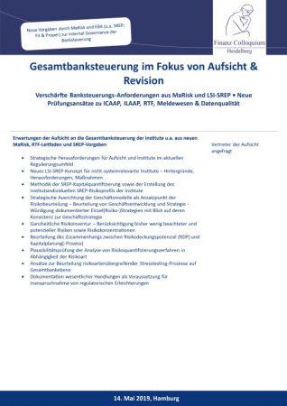 Gesamtbanksteuerung im Fokus von Aufsicht Revision