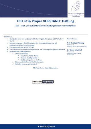 FCH Fit Proper VORSTAND Haftung