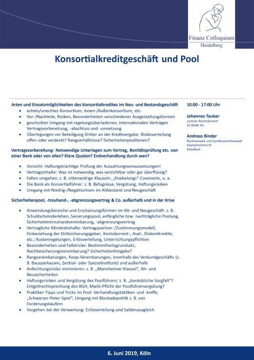 Konsortialkreditgeschaeft und Pool