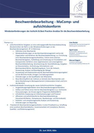 Beschwerdebearbeitung MaComp und aufsichtskonform