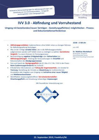 IVV 30 Abfindung und Vorruhestand