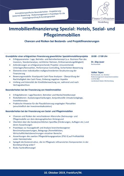 Immobilienfinanzierung Spezial Hotels Sozial und Pflegeimmobilien