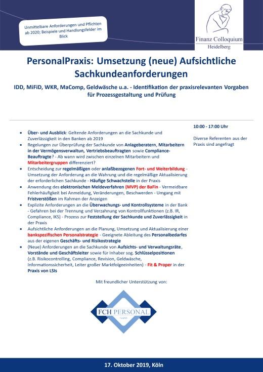 PersonalPraxis Umsetzung neue Aufsichtliche Sachkundeanforderungen