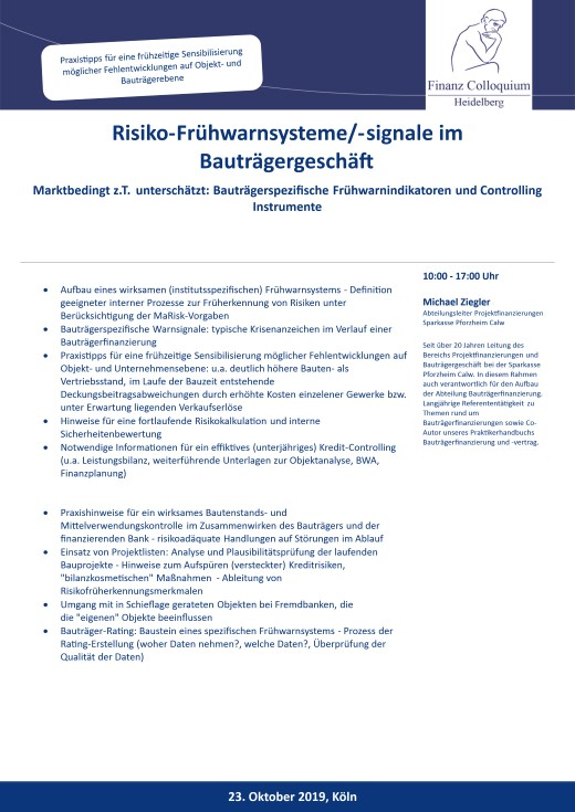 RisikoFruehwarnsystemesignale im Bautraegergeschaeft