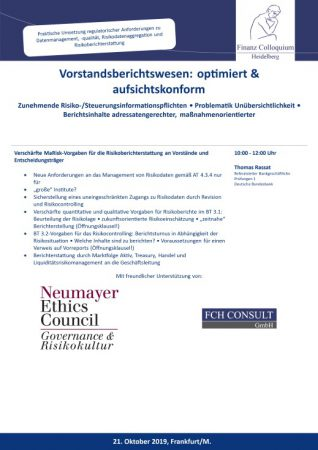 Vorstandsberichtswesen optimiert aufsichtskonform