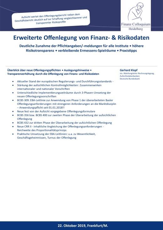 Erweiterte Offenlegung von Finanz Risikodaten