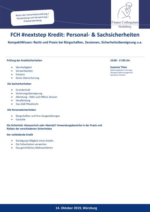 FCH nextstep Kredit Personal Sachsicherheiten