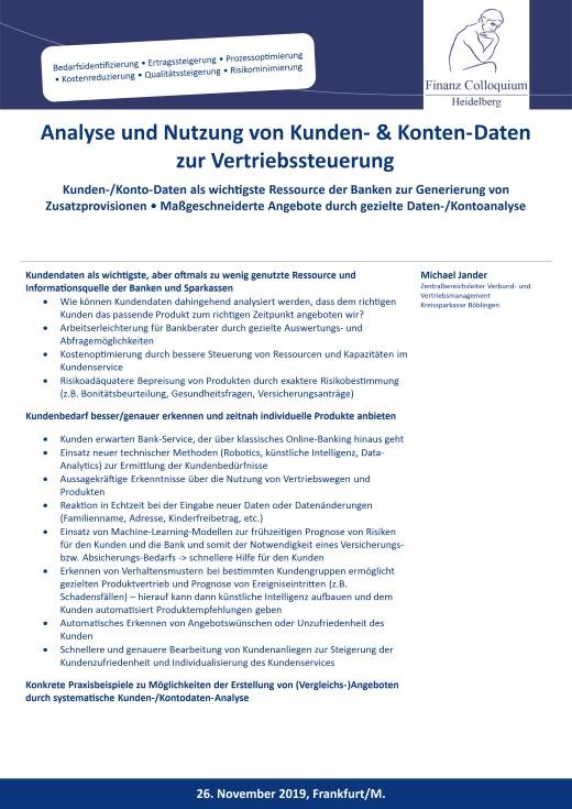 Analyse und Nutzung von Kunden KontenDaten zur Vertriebssteuerung