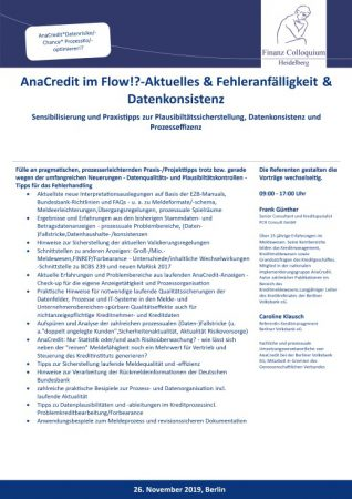 AnaCredit im FlowAktuelles Fehleranfaelligkeit Datenkonsistenz