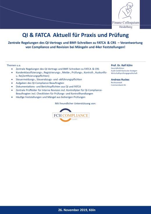 QI FATCA Aktuell fuer Praxis und Pruefung