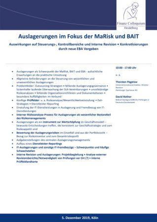 Auslagerungen im Fokus der MaRisk und BAIT