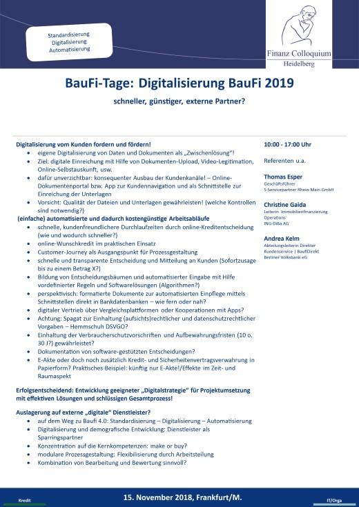 BauFiTage Digitalisierung BauFi 2019