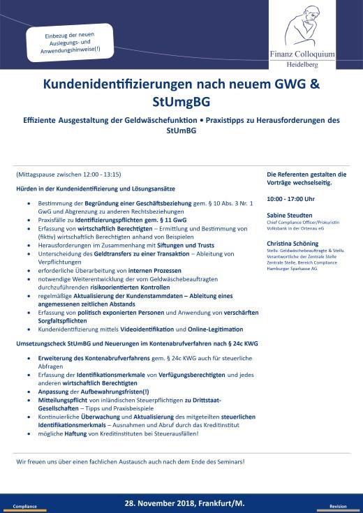 Kundenidentifizierungen nach neuem GWG StUmgBG