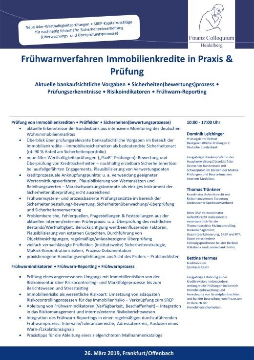 Fruehwarnverfahren Immobilienkredite in Praxis Pruefung