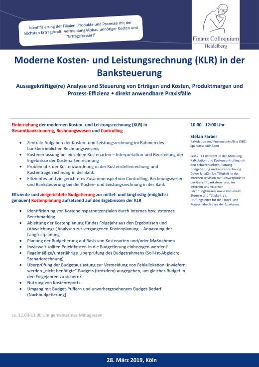 Moderne Kosten und Leistungsrechnung KLR in der Banksteuerung