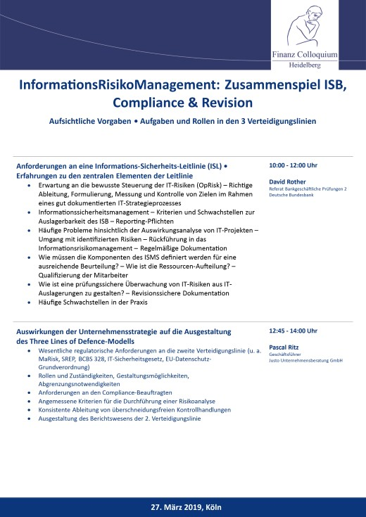 InformationsRisikoManagement Zusammenspiel ISB Compliance Revision