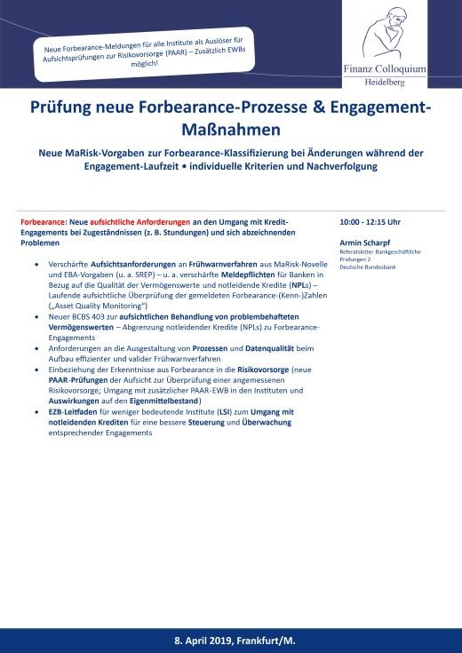 Pruefung neue ForbearanceProzesse EngagementManahmen