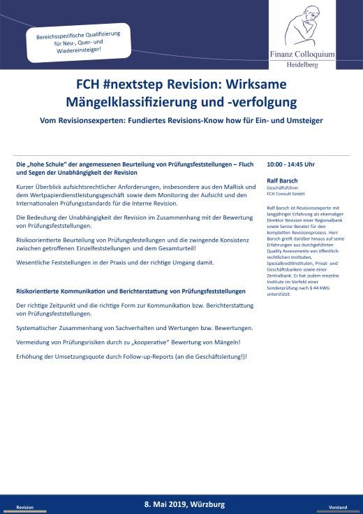 FCH nextstep Revision Wirksame Maengelklassifizierung und verfolgung