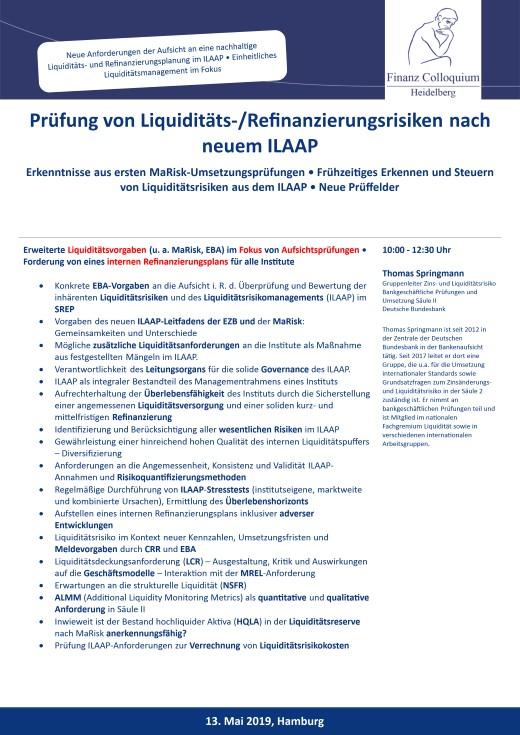 Pruefung von LiquiditaetsRefinanzierungsrisiken nach neuem ILAAP