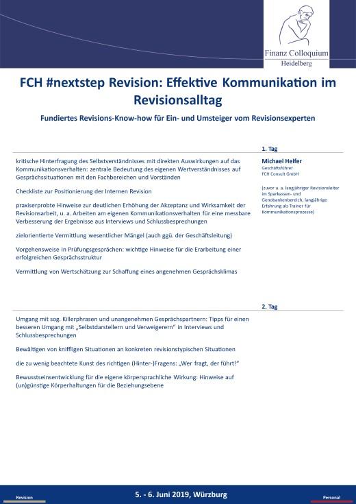 FCH nextstep Revision Effektive Kommunikation im Revisionsalltag
