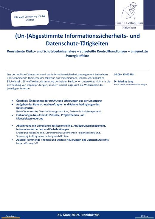 UnAbgestimmte Informationssicherheits und DatenschutzTaetigkeiten