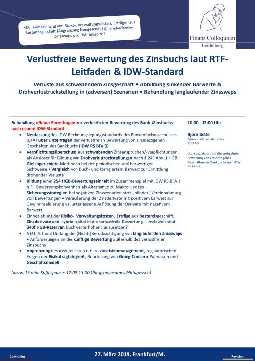 Verlustfreie Bewertung des Zinsbuchs laut RTFLeitfaden IDWStandard