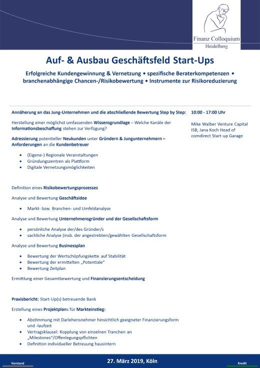 Auf Ausbau Geschaeftsfeld StartUps