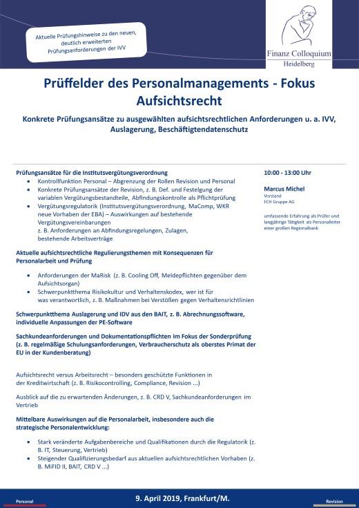 Prueffelder des Personalmanagements Fokus Aufsichtsrecht