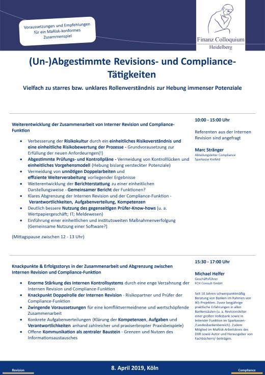 UnAbgestimmte Revisions und ComplianceTaetigkeiten